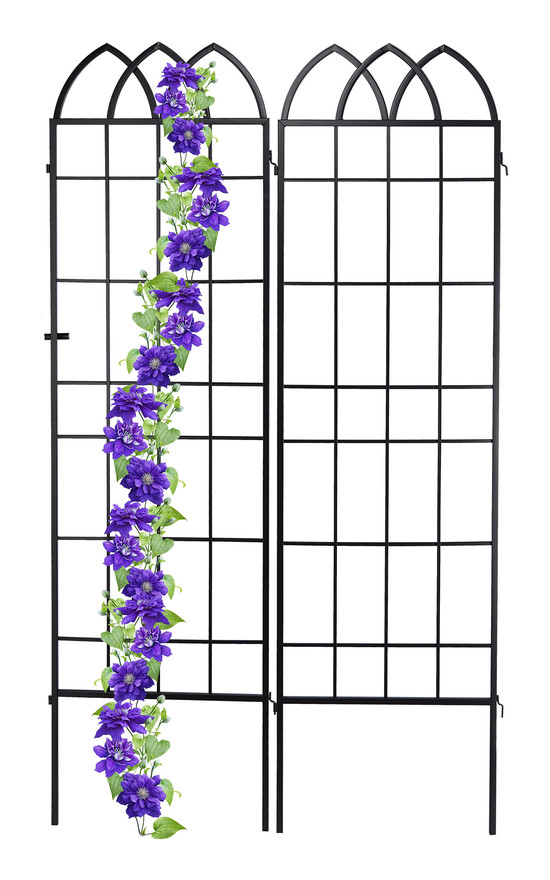trellis panels, metal arched top climbing support, set of 2, outdoor plant growth, 51 x 183 cm (LxH), black - Relaxdays