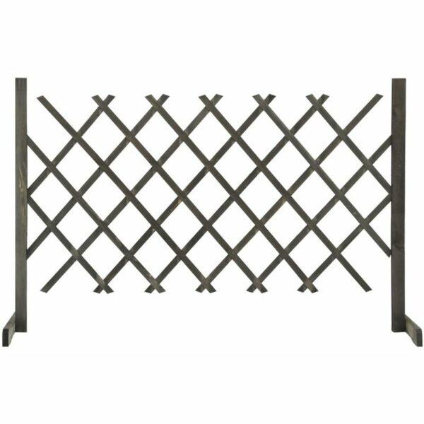 vidaXL Garden Trellis Fence Grey 120x90 cm Solid Firwood - Grey