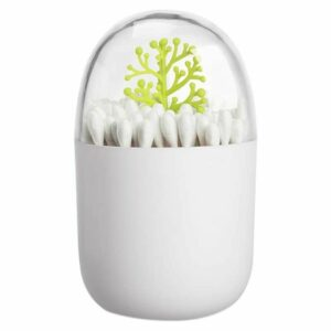 1 Pack Empty Four Season Plant Toothpick Box/Animal Cotton Swab Box, Reusable, Keeps Swabs and Toothpicks Clean and Easy to Store (Green tree)