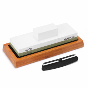 1000#/6000# Premium Whetstone Cut Sharpening Stone Set Sharpener for All Blade Non Slip Base Cutter Sharpener,model:Multicolor