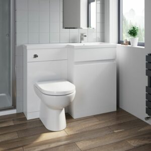 1100 mm Bathroom Vanity Unit Basin Toilet Combined Furniture Right Hand White