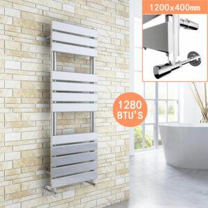 1200 x 400 Chrome Designer Flat Panel Heated Towel Rail Radiator + Chrome Thermostatic Radiator Valves - Elegant