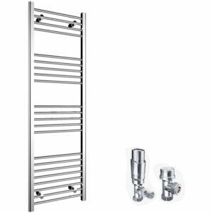 1600 x 500 mm Straight Towel Rail Radiator Bathroom Heated Towel Radiator + Chrome Thermostatic Radiator Valves