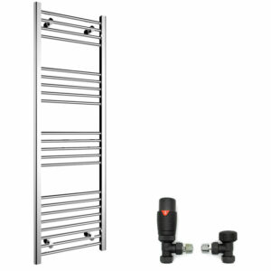 1600 x 500 mm Straight Towel Rail Radiator Bathroom Heated Towel Radiator + Thermostatic Radiator Valves