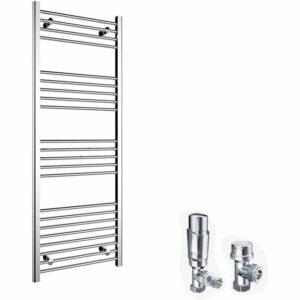1600 x 600 mm Chrome Radiator Bathroom Straight Towel Rail Radiator + Chrome Thermostatic Radiator Valves