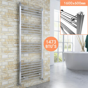 1600 x 600 mm Straight Towel Rail Radiator Bathroom Heated Towel Radiator + Thermostatic Radiator Valves