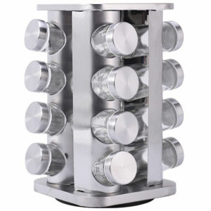 16PCS Spice Jars With Rack Rotating Spice Rack Organizer for Countertop Stainless Steel Large Standing Cabinet Seasoning Tower for Kitchen,model: