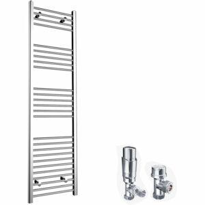 1800 x 500mm Chrome Heated Towel Rail Designer Bathroom Radiator + Chrome Thermostatic Radiator Valves - Elegant