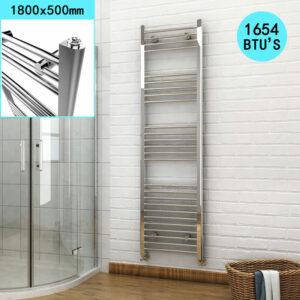 1800 x 500mm Chrome Heated Towel Rail Designer Bathroom Radiator + Thermostatic Radiator Valves - Elegant
