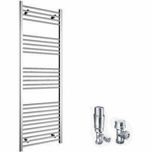 1800 x 600 mm Bathroom Towel Radiator Chrome Straight Towel Rail Radiator + Chrome Thermostatic Radiator Valves