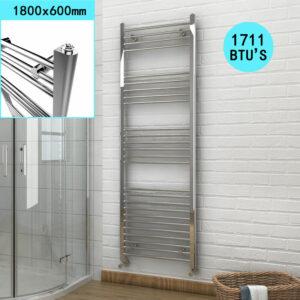 1800 x 600 mm Bathroom Towel Radiator Chrome Straight Towel Rail Radiator + Thermostatic Radiator Valves