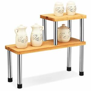 2-Tier Corner Shelf Kitchen Countertop Organiser Spice Rack Shelving Unit