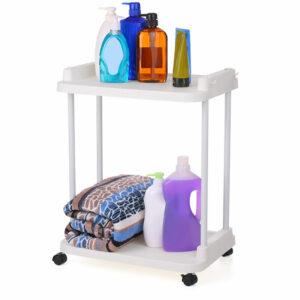 2-Tier Rolling Storage Cart Mobile Shelving Unit Organizer Slide-Out Racks for Kitchen Living Room Bathroom,model:Ivory