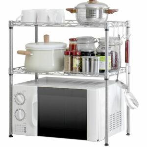 2-Tier Storage Shelf Microwave Oven Rack Metal Organizer Wire Rack Carbon Steel Kitchen Adjustable Stand Shelf Shelving Storage Unit,model:Silver