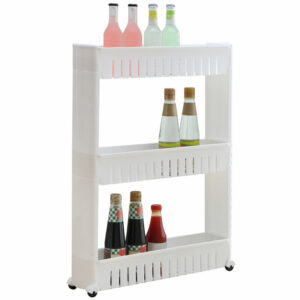 3-Tier Mobile Shelving Unit Organizer Slide-Out Slim Storage Cart Portable Trolley Rack for Narrow Spaces,model:White
