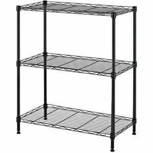 3-Tier Shelf Shelving Storage Unit Metal Organizer Wire Rack Carbon Steel Kitchen Stand Storage Shelf,model:Black