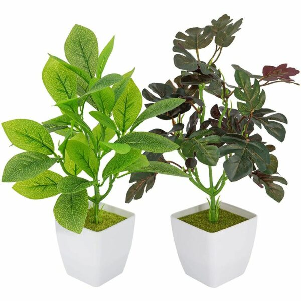 Briday - 2 Pieces Artificial Plants Interior Decoration, Plastic Plants & Agrave; Green Leaves in Pots, Small False Plants for Home, Office and