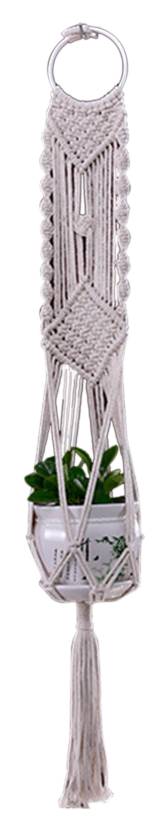 Macrame Plant Hanger with Tassels Woven Decorative Flower Pot Holder Indoor Outdoor Hanging Planter Basket Handmade Cotton Rope Home Garden