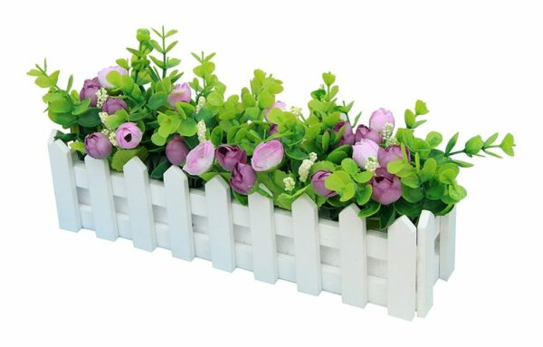 Roses Artificial Plants with Fence Fake Artificial Flowers with Potted Simulation Potted Plants Bonsai Artificial Flowers Artificial Plants Balcony