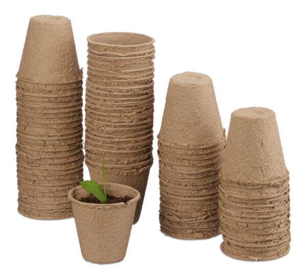 Set of 80 Flower Pots, Biodegradable, Planter, Cellulose, Round, 8 cm, Beige - Relaxdays