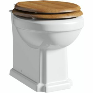 The Bath Co. Camberley back to wall toilet with solid oak soft close seat