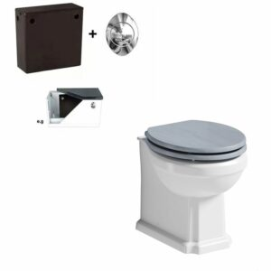 The Bath Co. Traditional back to wall toilet with Beaumont powder blue wooden toilet seat and concealed cistern